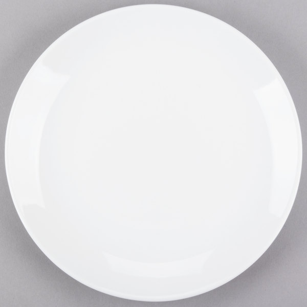 World Tableware 840-425C Porcelana Coupe 9 inch Round Bright White Porcelain Plate - 24/Case