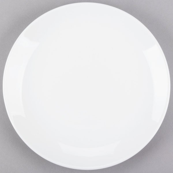 World Tableware 840-425C Porcelana Coupe 9 inch Bright White Round Porcelain Plate  - 24/Case