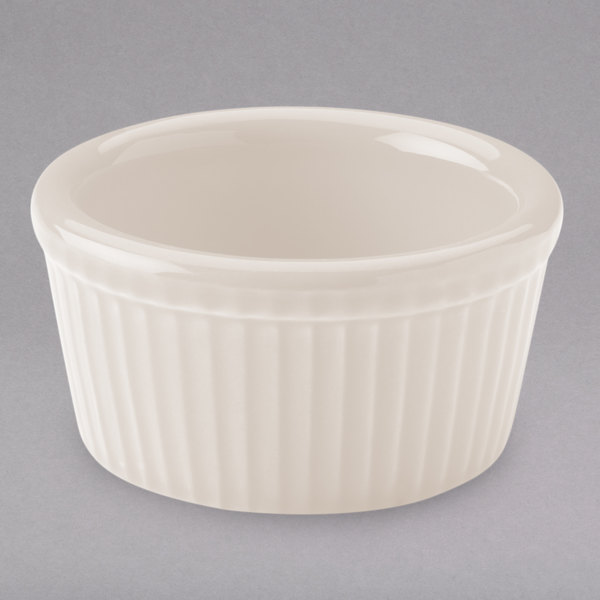 Hall China 8341/22AWHA Ivory (American White) 4 oz. Fluted Ramekin - 36/Case