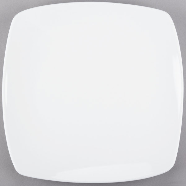 World Tableware 840-468S Porcelana Coupe 10 1/4 inch Bright White Square Porcelain Plate - 12/Case