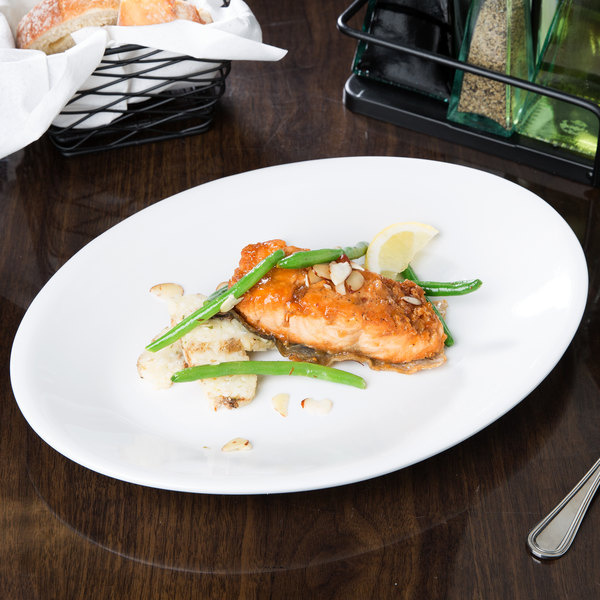 """World Tableware 840-530R-30 Porcelana Rolled Edge Coupe Platter 13 1/2"""" x 10"""" Bright White Oval Porcelain - 12/Case Main Image 3"""