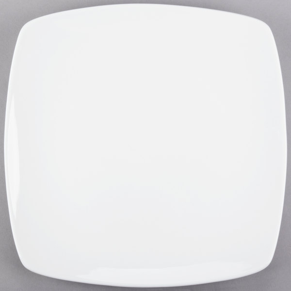 World Tableware 840-470S Porcelana Coupe Plate 11 inch Bright White Square Porcelain  - 12/Case