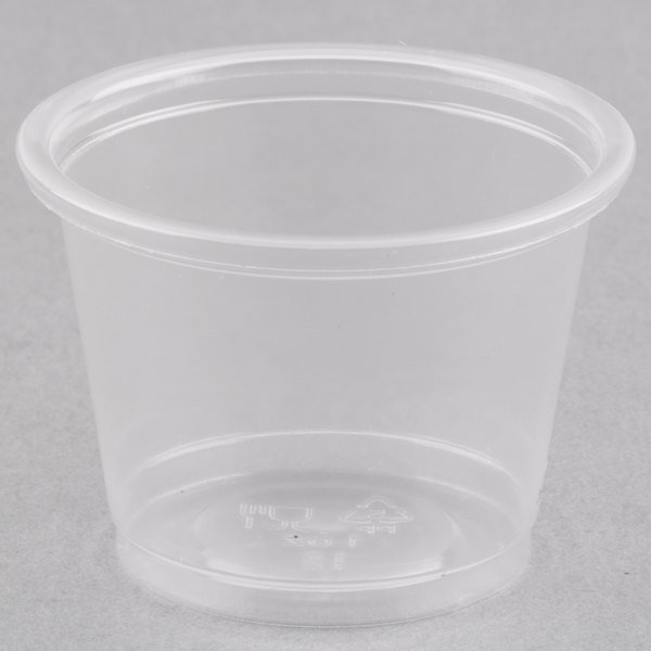 Choice 1 oz. Clear Plastic Souffle Cup / Portion Cup  - 100/Pack