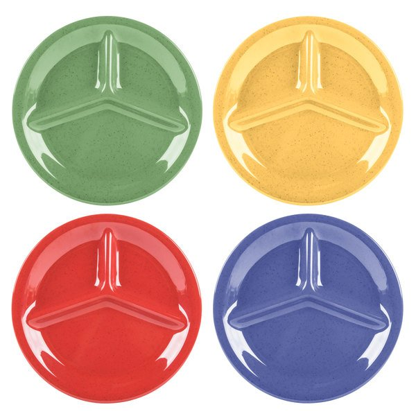 "GET CP-10-MIX Diamond Mardi Gras 10 1/4"" Three Compartment Melamine Plate, Assorted Colors - 12/Case Main Image 1"