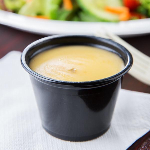 Choice 2.5 oz. Black Plastic Souffle Cup / Portion Cup - 2500/Case