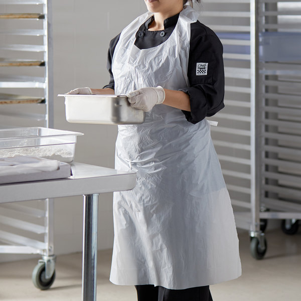 Choice Disposable Heavy Weight White Poly Apron - 50/Box