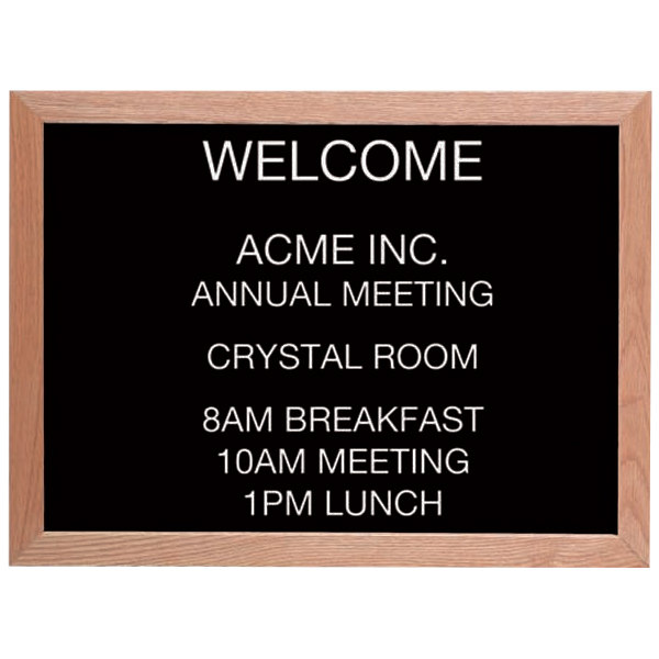 """Aarco AOFD1824L 18"""" x 24"""" Black Felt Open Face Horizontal Indoor Message Board with Solid Oak Wood Frame and 3/4"""" Letters"""