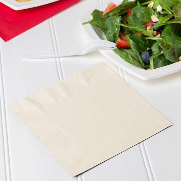Creative Converting 669161B Ivory 2-Ply 1/4 Fold Luncheon Napkin - 50/Pack