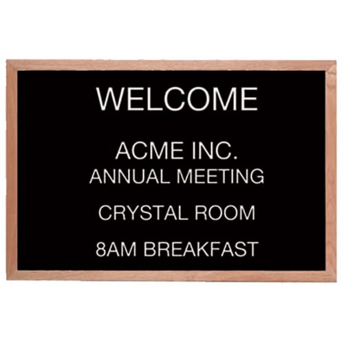 """Aarco AOFD1218L 12"""" x 18"""" Black Felt Open Face Horizontal Indoor Message Board with Solid Oak Wood Frame and 3/4"""" Letters"""
