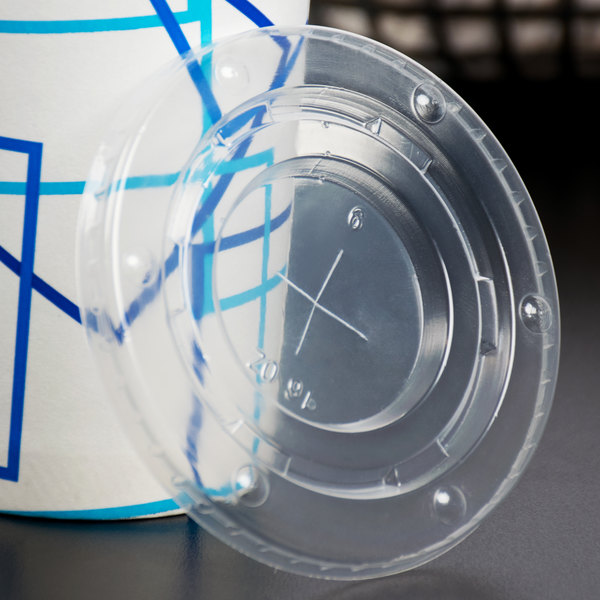Choice 12-22 oz. Clear Cold Cup Flat Lid with Straw Slot - 100/Pack