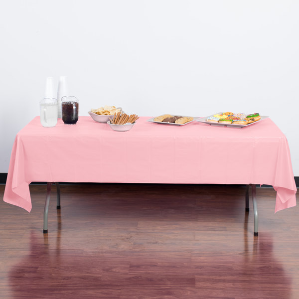 "Creative Converting 014016B 54"" x 108"" Classic Pink Disposable Plastic Table Cover - 24/Case Main Image 3"