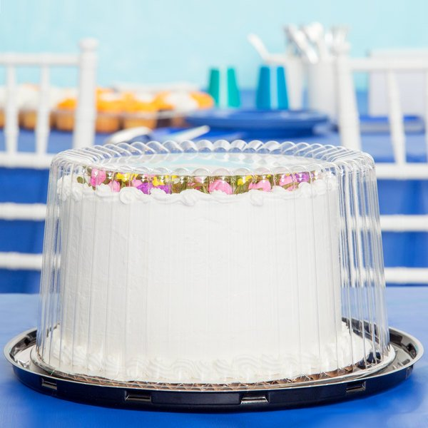 """D&W Fine Pack G21-1 7"""" 2-3 Layer Cake Display Container with Clear Dome Lid - 180/Case"""