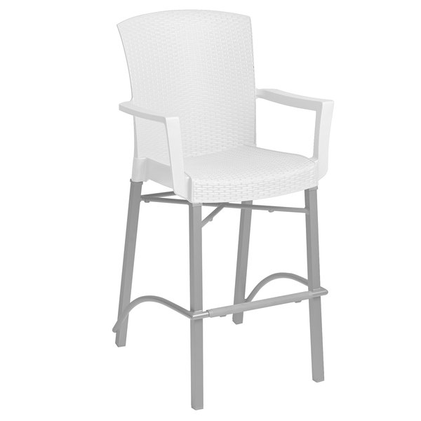 Grosfillex 48260004 Havana White Aluminum Indoor / Outdoor Bar Height Arm Chair with Synthetic Wicker Back and Seat Main Image 1
