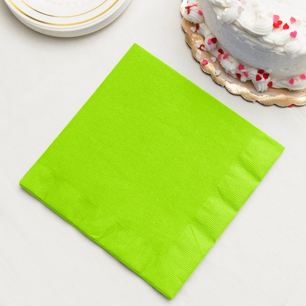 Fresh Lime Green Paper Dinner Napkin, 3-Ply - Creative Converting 593123B - 25/Pack