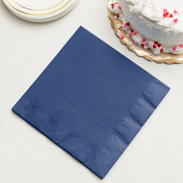 Navy Blue 3-Ply Dinner Napkin, Paper - Creative Converting 591137B - 25/Pack