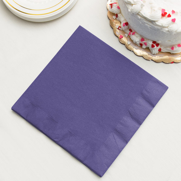 Purple Paper Dinner Napkin, 3-Ply - Creative Converting 59115B - 25/Pack