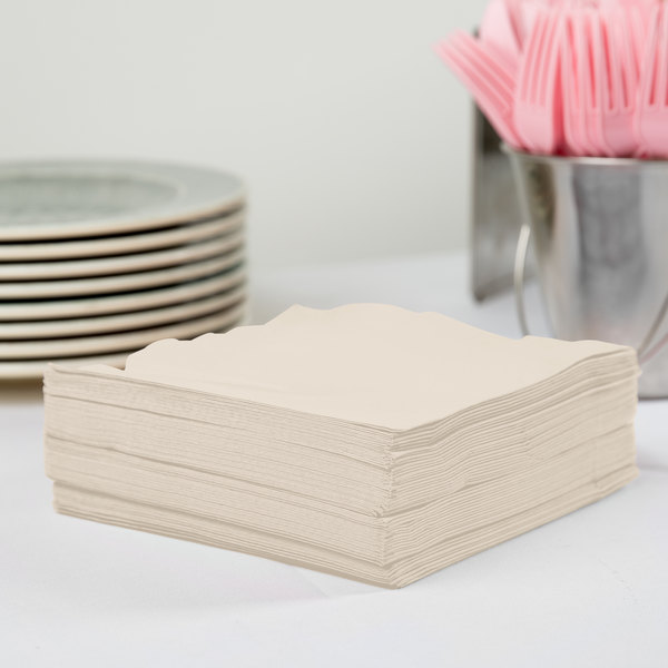 Creative Converting 58161B Ivory 3-Ply 1/4 Fold Luncheon Napkin - 50/Pack