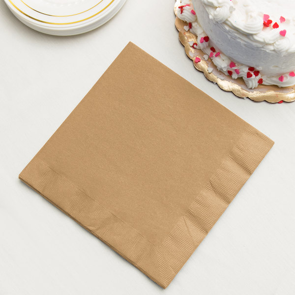 Glittering Gold 3-Ply Dinner Napkin, Paper - Creative Converting 593276B - 25/Pack