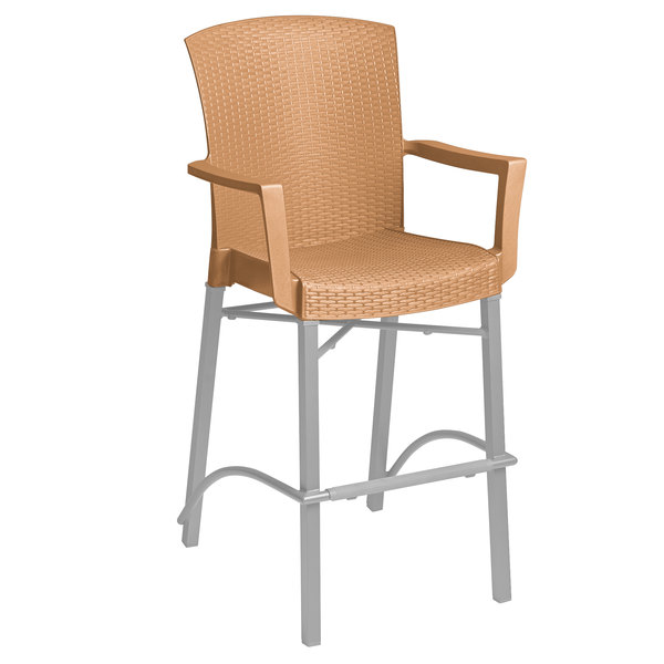 Grosfillex 48260008 Havana Tobacco Aluminum Indoor / Outdoor Bar Height Arm Chair with Synthetic Wicker Back and Seat Main Image 1