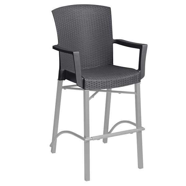 Grosfillex 48260002 Havana Charcoal Aluminum Indoor / Outdoor Bar Height  Arm Chair With Synthetic Wicker Back And Seat