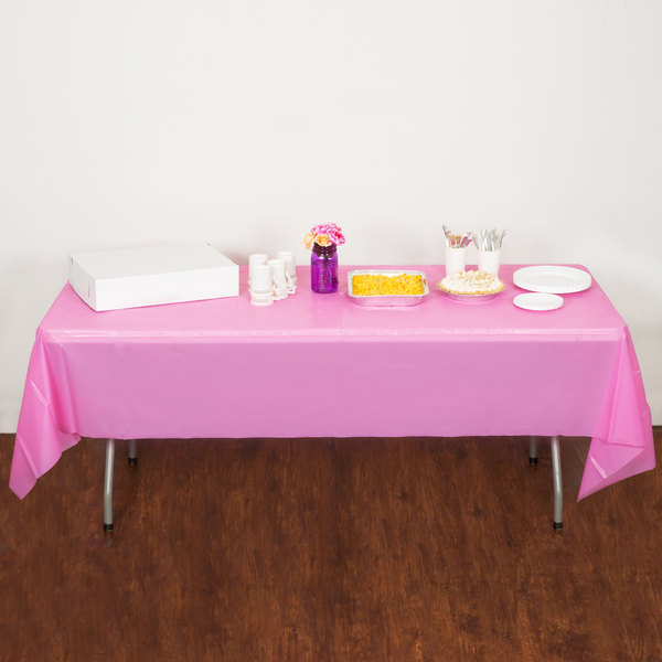"Creative Converting 011342 54"" x 108"" Candy Pink Disposable Plastic Table Cover - 12/Case Main Image 3"