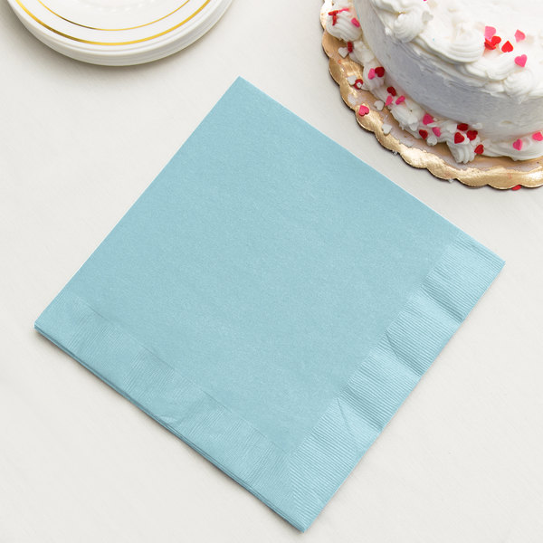 Pastel Blue 3-Ply Dinner Napkin, Paper - Creative Converting 59157B - 25/Pack
