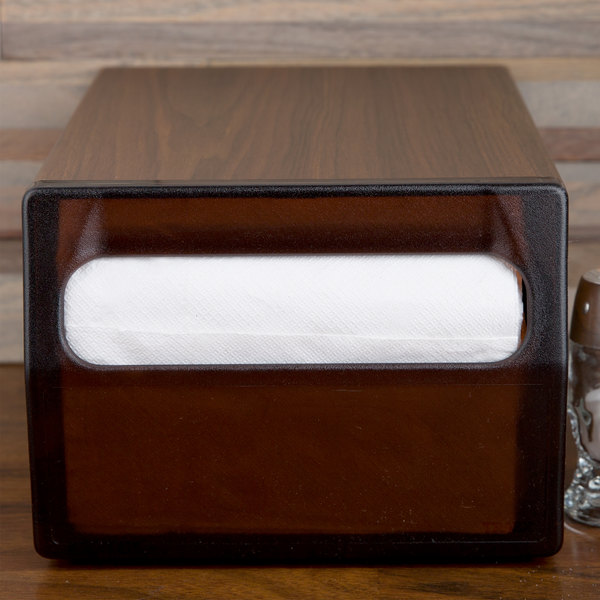 Vollrath 5512-12 One Sided Countertop Fullfold Napkin Dispenser with Brown Faceplate - Walnut