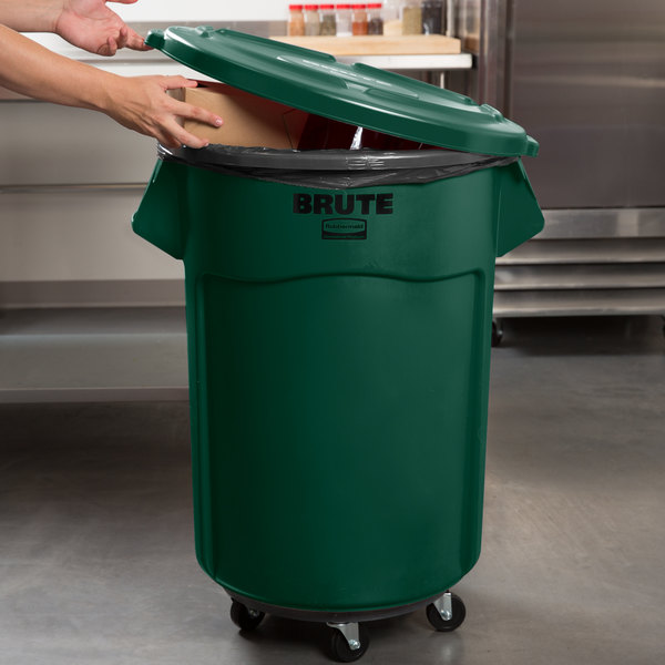 Rubbermaid BRUTE 55 Gallon Green Round Trash Can with Lid and Dolly Main Image 5