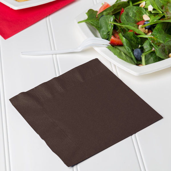 Creative Converting 663038B Chocolate Brown 2-Ply 1/4 Fold Luncheon Napkin - 50/Pack