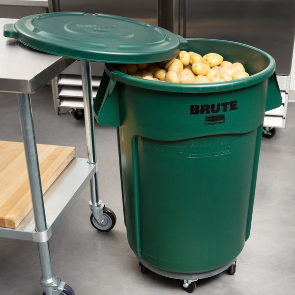 Rubbermaid BRUTE 44 Gallon Green Trash Can with Lid and Dolly