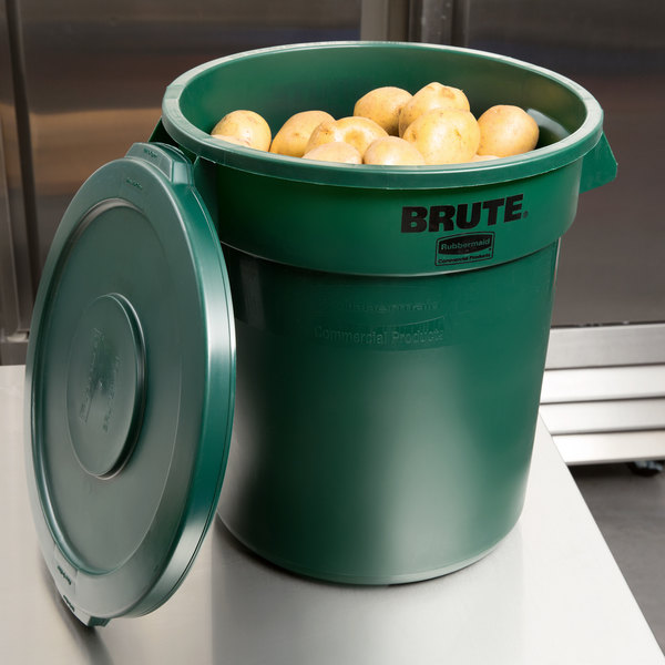 Rubbermaid BRUTE 10 Gallon Green Round Trash Can and Lid Main Image 7