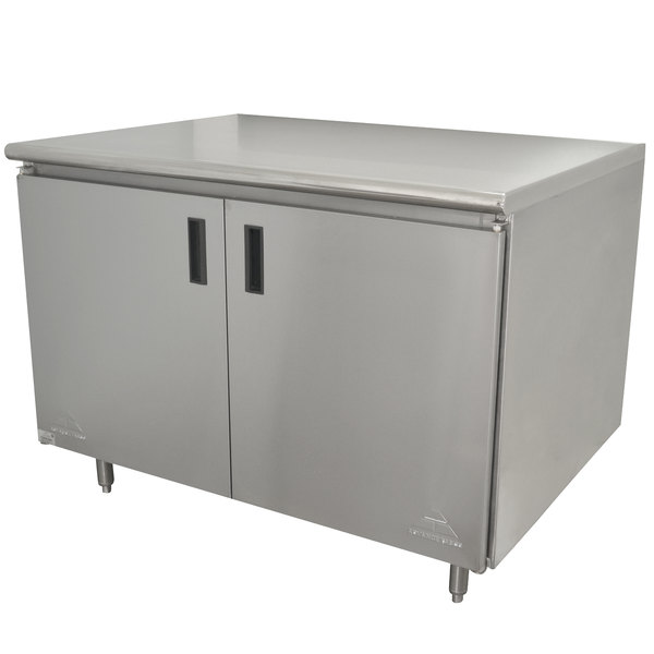 "Advance Tabco HB-SS-303M 30"" x 36"" 14 Gauge Enclosed Base Stainless Steel Work Table with Hinged Doors and Fixed Midshelf"