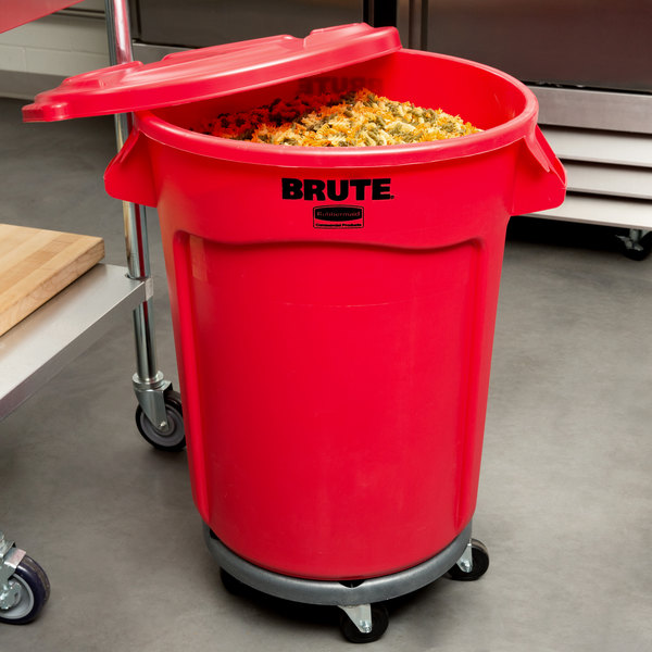 Rubbermaid BRUTE 32 Gallon Red Trash Can with Lid and Dolly