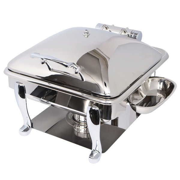 Eastern Tabletop 3964S Crown 4 Qt. Stainless Steel Square Induction / Traditional Chafer with Freedom Stand and Hinged Dome Cover