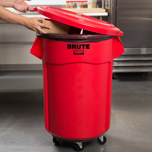 Rubbermaid BRUTE 55 Gallon Red Trash Can with Lid and Dolly