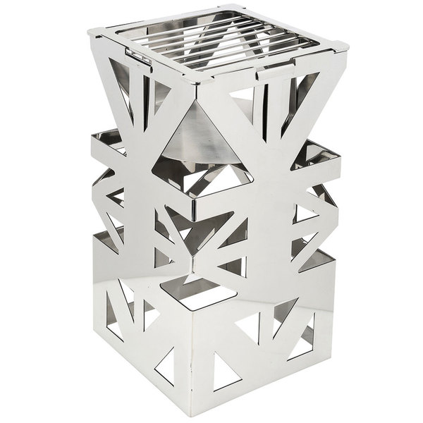 """Eastern Tabletop 1743 LeXus 8"""" x 8"""" x 15"""" Stainless Steel Square Cube with Fuel Shelf and Grate"""