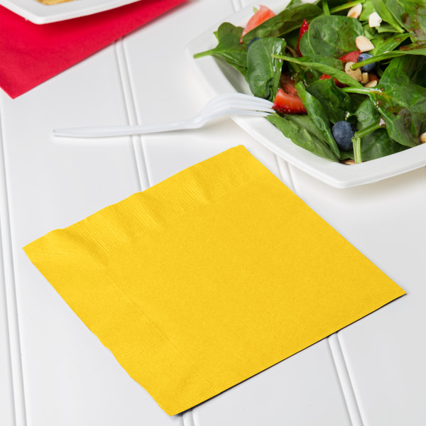 Creative Converting 6691021B School Bus Yellow 2-Ply 1/4 Fold Luncheon  Napkin - 50/Pack