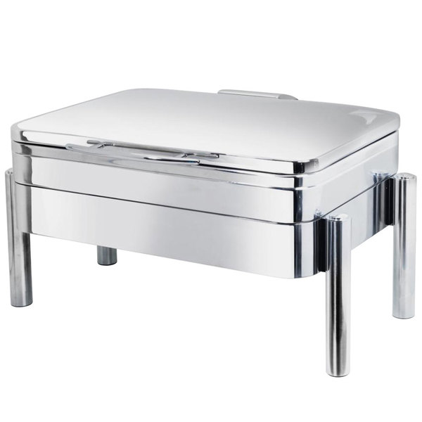 Eastern Tabletop 3975S Jazz 8 Qt. Stainless Steel Oblong Induction / Traditional Chafer with Pillar'd Stand and Hinged Dome Cover