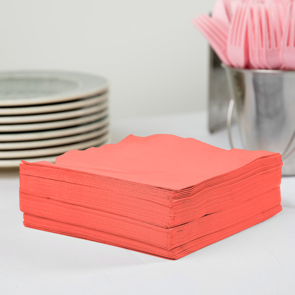 Creative Converting 583146B Coral 3-Ply 1/4 Fold Luncheon Napkin - 50/Pack