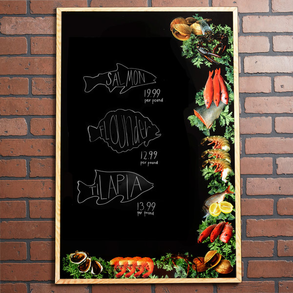 """24"""" x 36"""" Black Marker Board with Seafood Graphic RMV-2436-SF"""