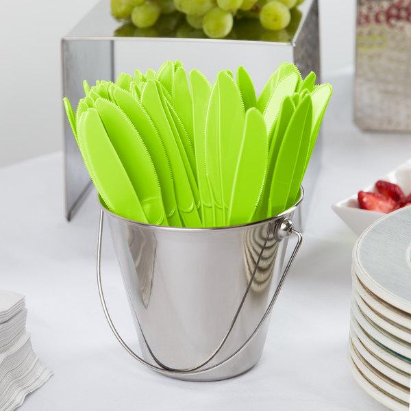 "Creative Converting 010923B 7 1/2"" Fresh Lime Green Heavy Weight Plastic Knife - 50/Pack"
