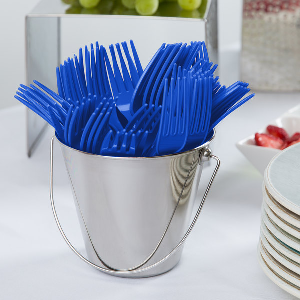 """Creative Converting 010047 7 1/8"""" Cobalt Heavy Weight Plastic Fork - 24/Pack"""
