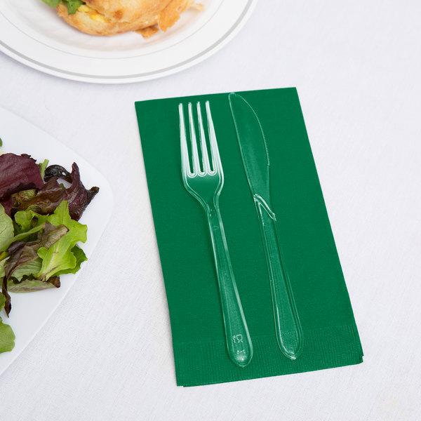 Creative Converting 95112 Emerald Green 3-Ply Guest Towel / Buffet Napkin - 16/Pack