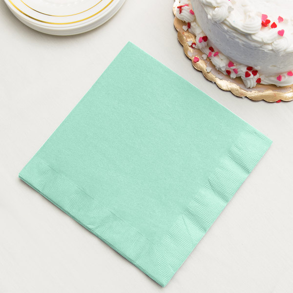Fresh Mint Green Dinner Napkin, 3-Ply - Creative Converting 318889 - 25/Pack