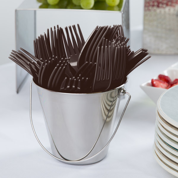 """Creative Converting 010369 7 1/8"""" Chocolate Brown Heavy Weight Plastic Fork - 24/Pack"""