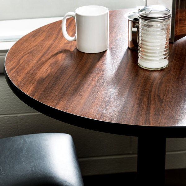 """Lancaster Table & Seating 24"""" Laminated Round Table Top Reversible Walnut / Oak"""