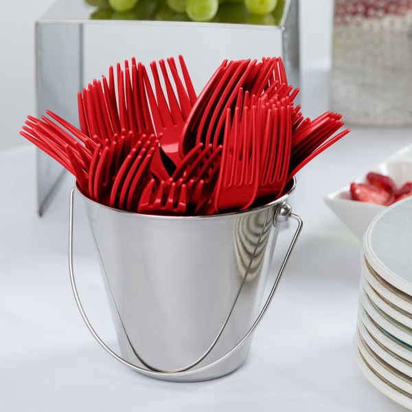 """Creative Converting 010463B 7 1/8"""" Classic Red Heavy Weight Plastic Fork - 50/Pack"""