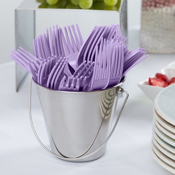 """Creative Converting 010470 7 1/8"""" Luscious Lavender Heavy Weight Plastic Fork - 24/Pack"""