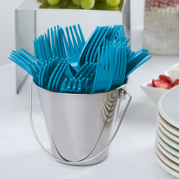Creative Converting 019131B Turquoise Heavy Weight Plastic Fork - 50/Pack