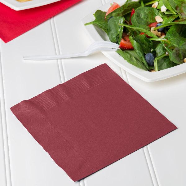 Creative Converting 663122B Burgundy 2-Ply 1/4 Fold Luncheon Napkin - 50/Pack